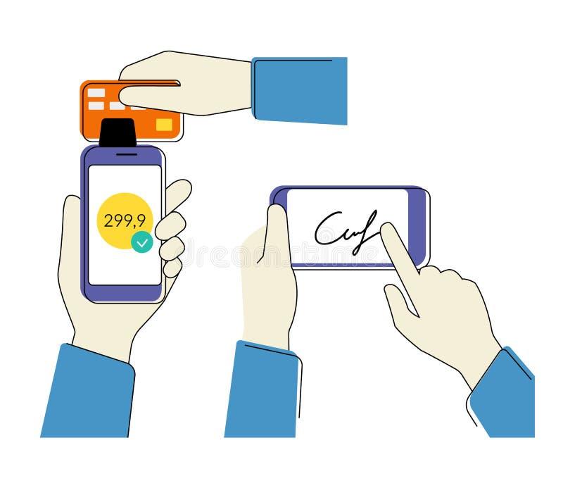 Mobilny nabywanie z podpisem royalty ilustracja
