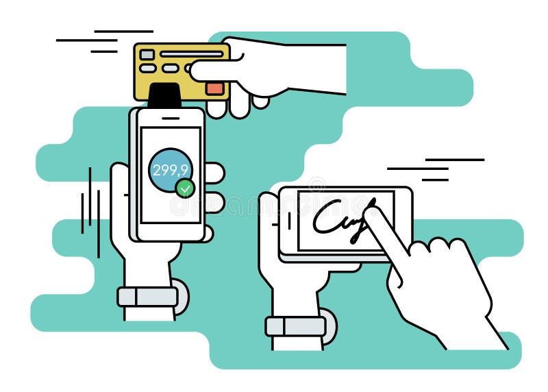 Mobilny nabywanie z podpisem przez smartphone royalty ilustracja