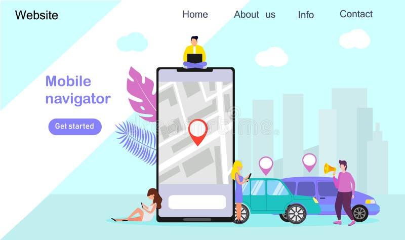 Mobilny nawigator lub miasto transport ilustracja wektor