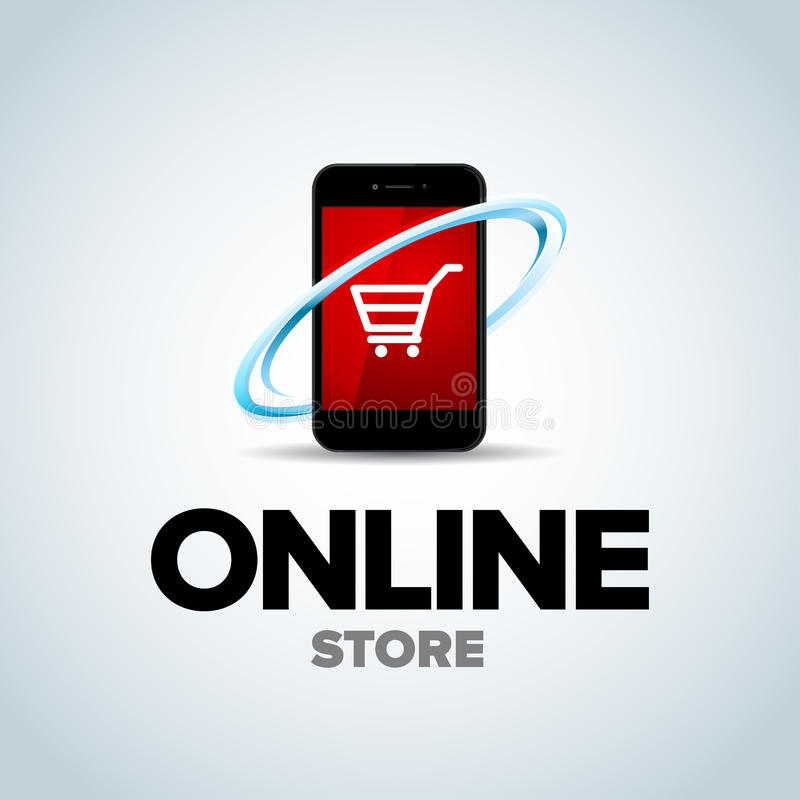 Mobilny Online sklep, mobilny online sklepu logo Telefonu logotyp Dla biznesu ilustracja ilustracji