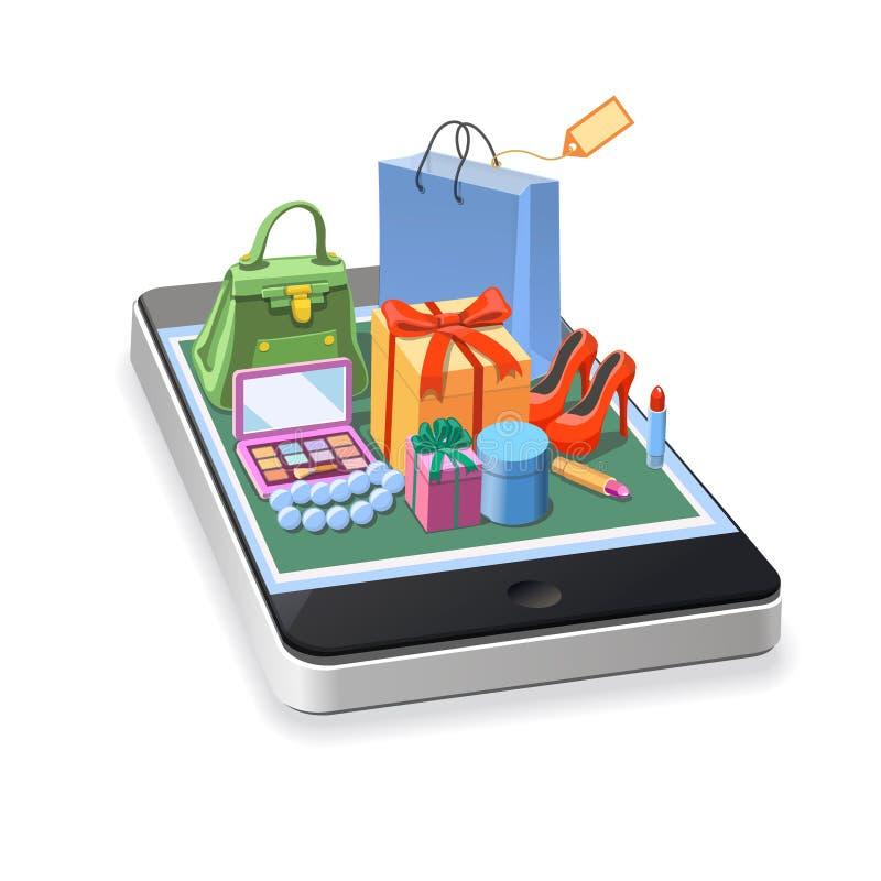 Mobilny online zakupy kobiet akcesoria royalty ilustracja