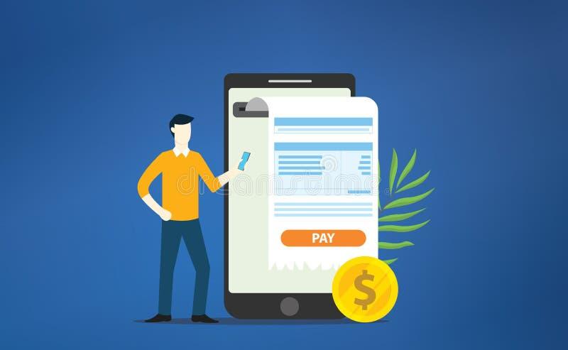 Mobilny płatniczy online kwit z smartphone apps z pieniądze złocistą monetą jako cyfrowe bankowość royalty ilustracja