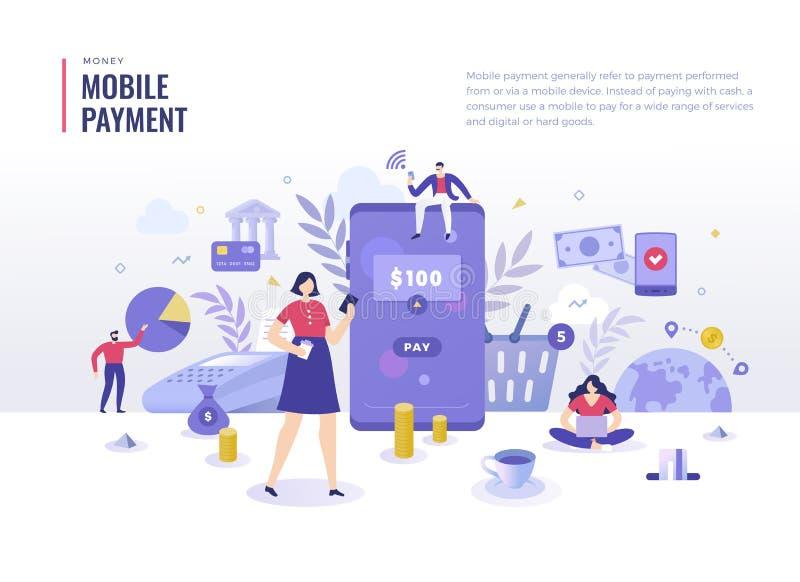 Mobilny płatniczy płaski ilustracyjny pojęcie royalty ilustracja