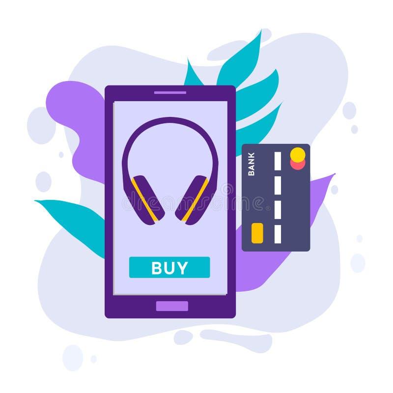 Mobilny Płatniczy pojęcie z ilustracją smartphone, karta kredytowa Płaskiego projekta stylu wektorowa ilustracja nowożytny smartp ilustracja wektor