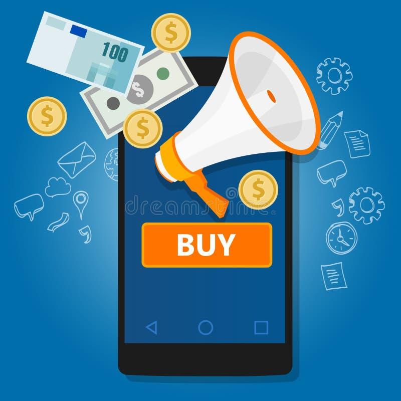 Mobilny płatniczy stuknięcie kupować online transakcja telefonu handel ilustracja wektor