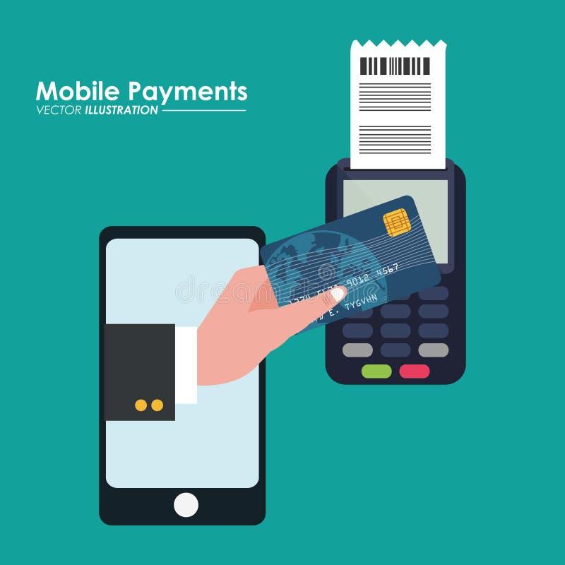 Mobilny płatniczy używa smartphone związany dataphone ilustracji