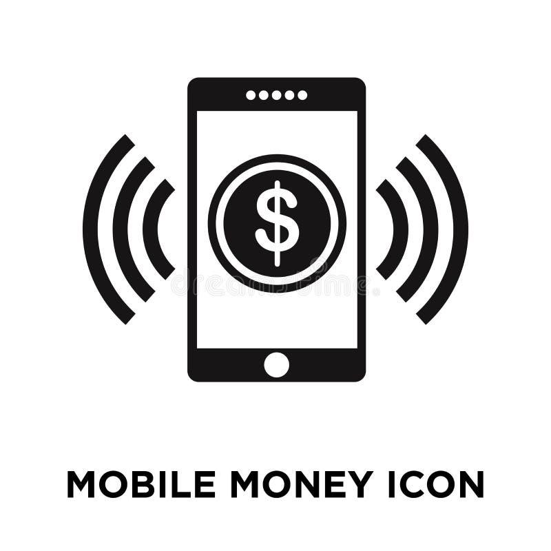 Mobilny pieniądze ikony wektor odizolowywający na białym tle, logo conc ilustracja wektor