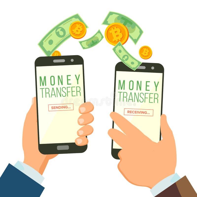 Mobilny pieniądze przelewania bankowości pojęcia wektor bank tła ręka trzymająca zauważy smartphone Dolar i bitcoin Radia Finanso ilustracji