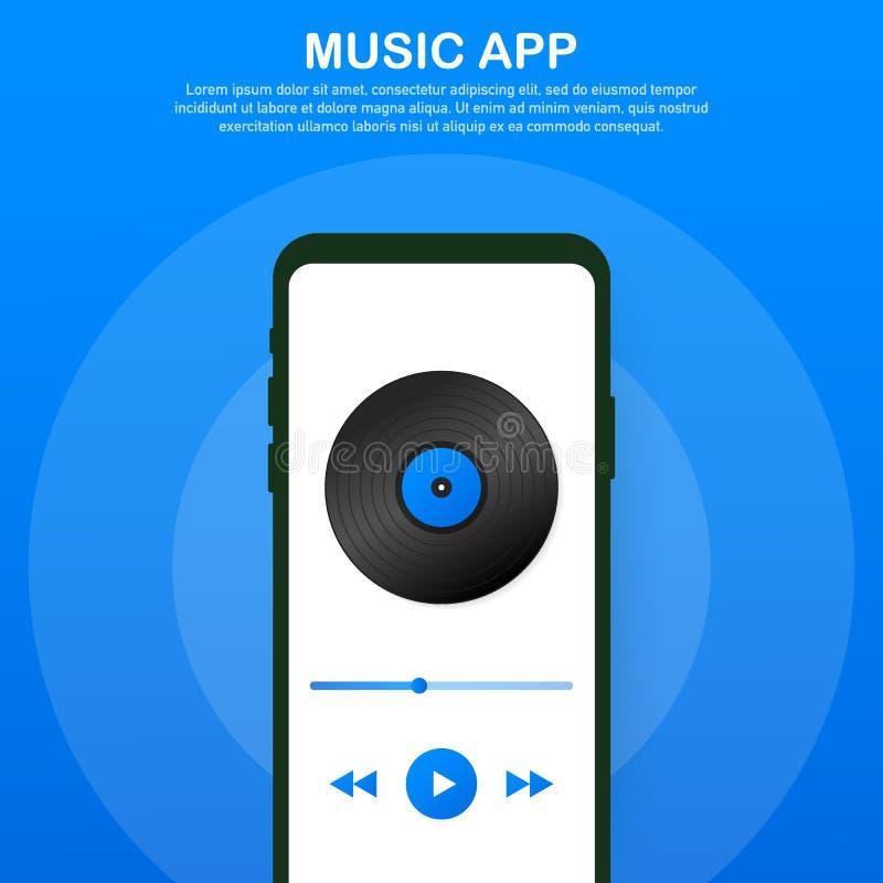 Mobilny Podaniowy interfejs Odtwarzacz muzyczny Muzyka App również zwrócić corel ilustracji wektora ilustracja wektor
