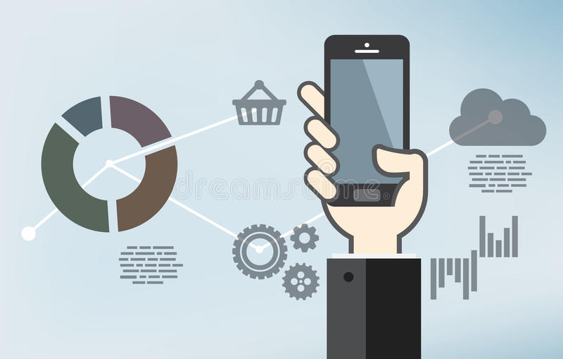 Mobilny podaniowy rozwój lub smartphone app programowanie royalty ilustracja
