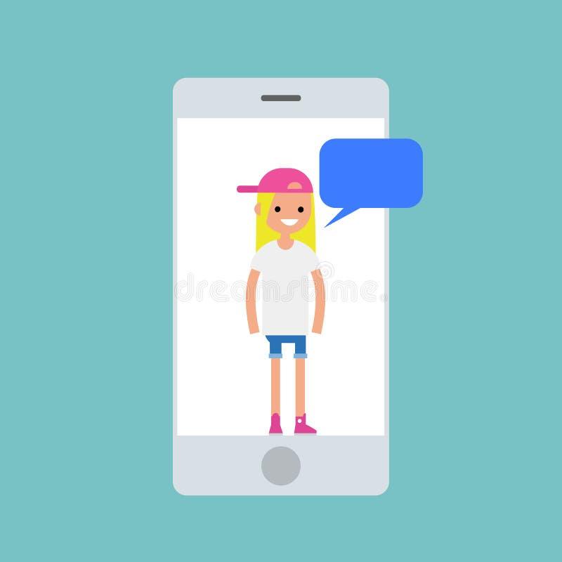 Mobilny pojęcie Młody millennial blond dziewczyny gawędzenie ilustracja wektor