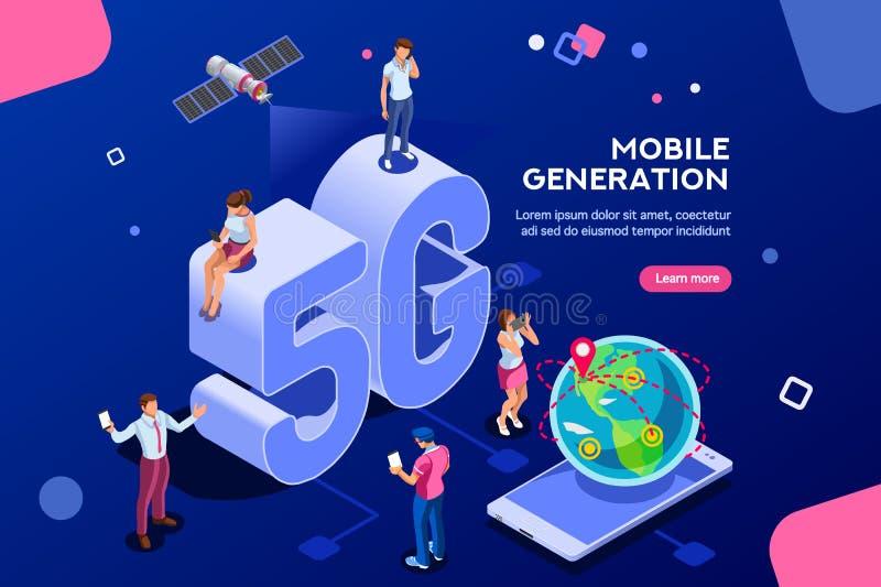 Mobilny pokolenia 5G Briadcasting Isometric sztandar ilustracja wektor
