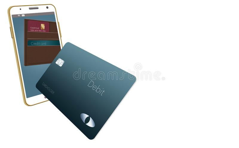Mobilny portfel ilustruje tutaj z rzemiennym portflem i karty kredytowe są w telefonie komórkowym i wokoło royalty ilustracja