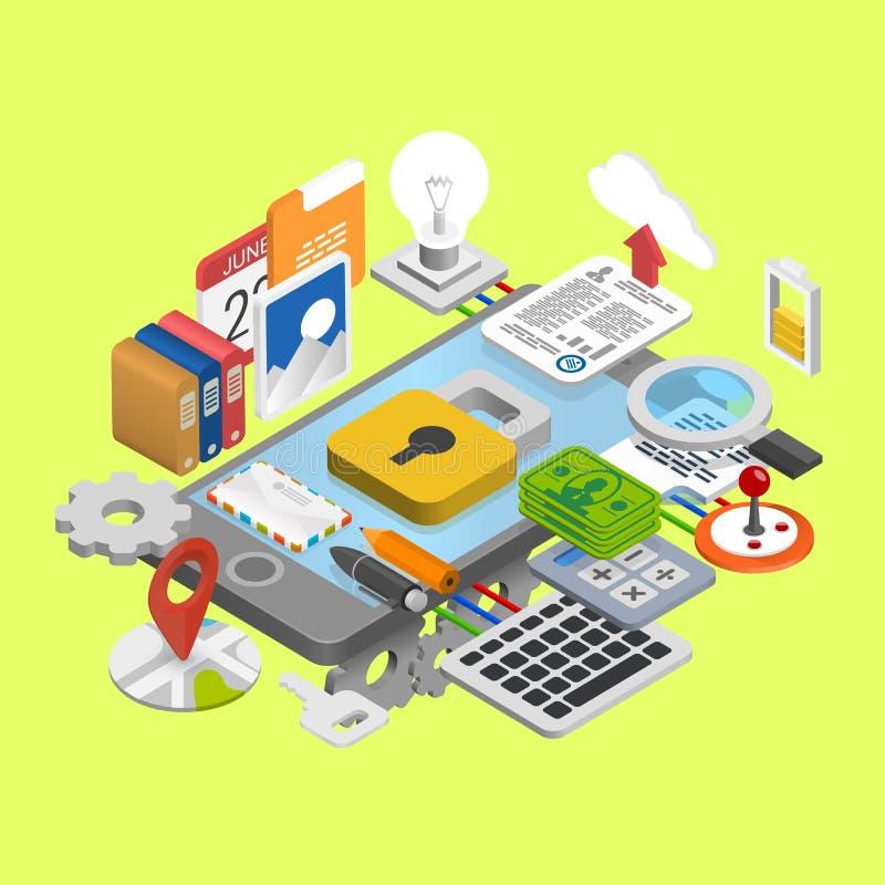 Mobilny rozwój ikon kolaż royalty ilustracja