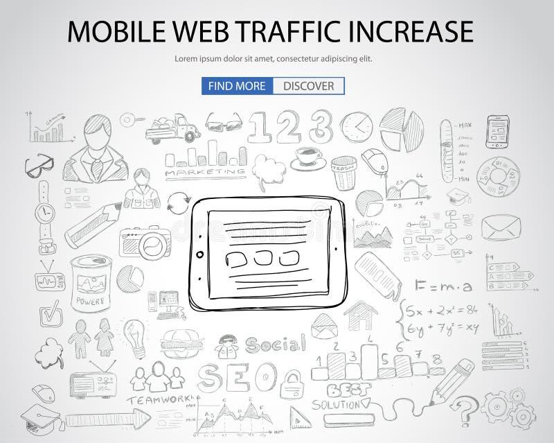 Mobilny sieć ruchu drogowego pojęcie z Doodle projekta stylem royalty ilustracja