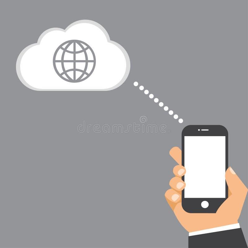Mobilny smartphone łączy świat ilustracja wektor