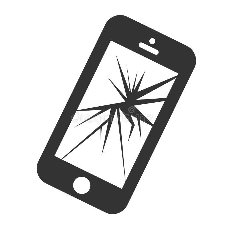 Mobilny smartphone z łamanego ekranu odosobnionym bielem ilustracja wektor
