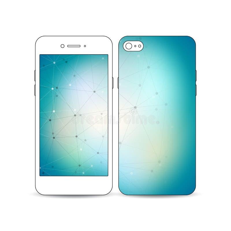 Mobilny smartphone z przykładem ekranu i pokrywy projekt odizolowywający na białym tle budowa molekularna ilustracja wektor