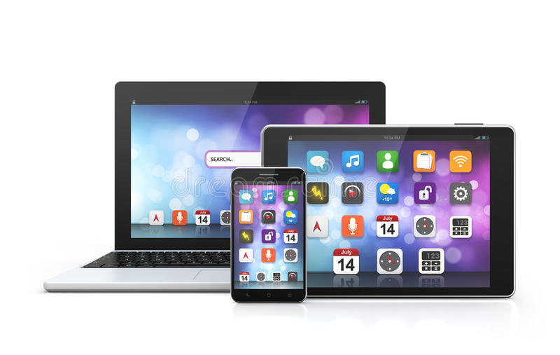 Mobilny technologia laptop, smartphone, pastylka royalty ilustracja