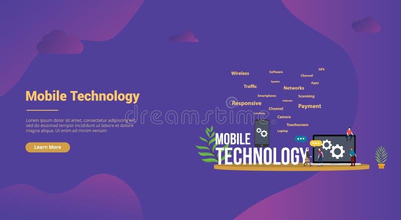 Mobilny technologii pojęcie z smartphone i laptopem z drużynowymi ludźmi dla strona internetowa szablonu ląduje homepage szta ilustracja wektor