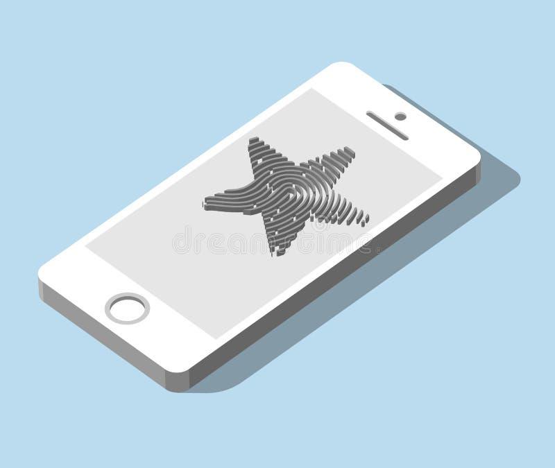 Mobilny zastosowanie dla odcisku palca rozpoznania w 3d ilustracji