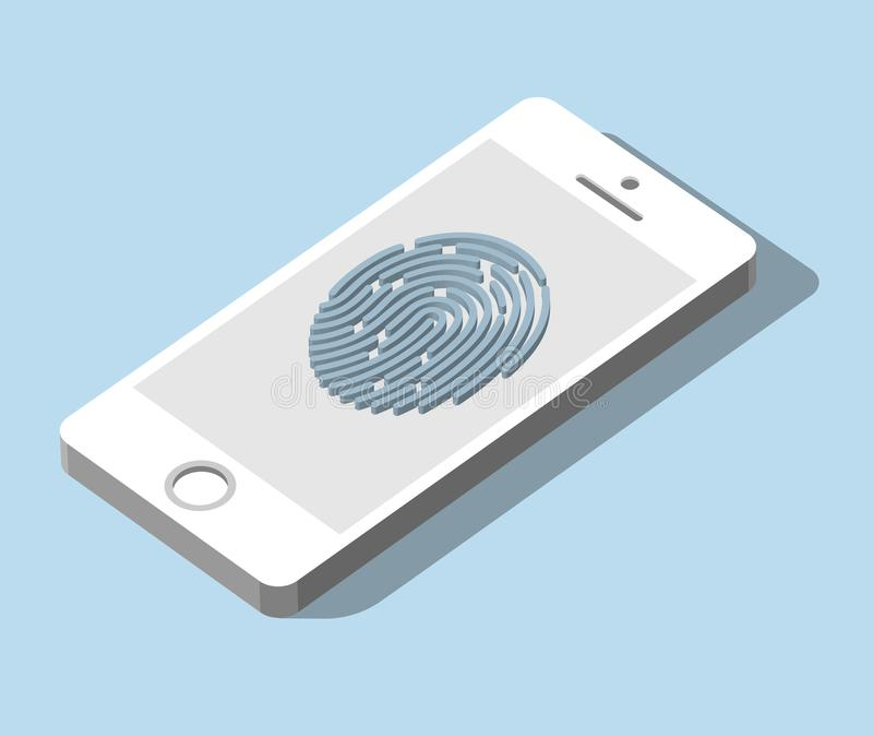 Mobilny zastosowanie dla odcisku palca rozpoznania w 3d royalty ilustracja