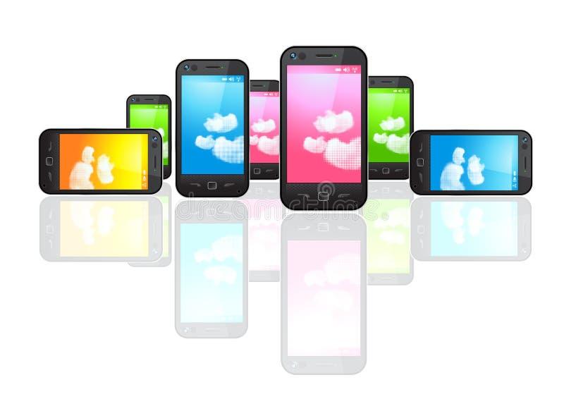 mobilsmartphones vektor illustrationer