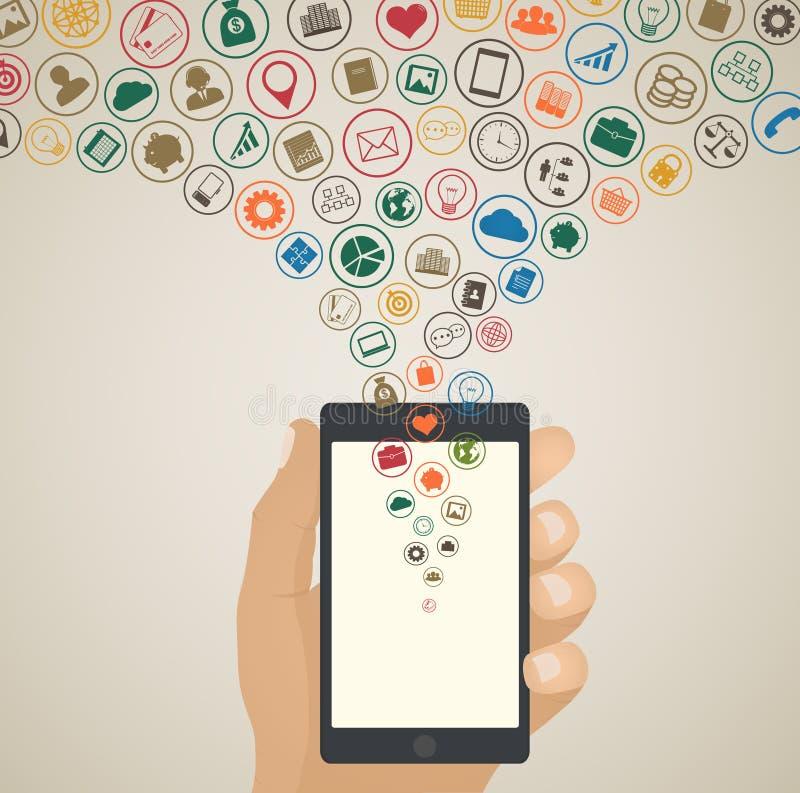 Mobilt app-utvecklingsbegrepp, molnmassmediasymboler runt om minnestavlan vektor illustrationer