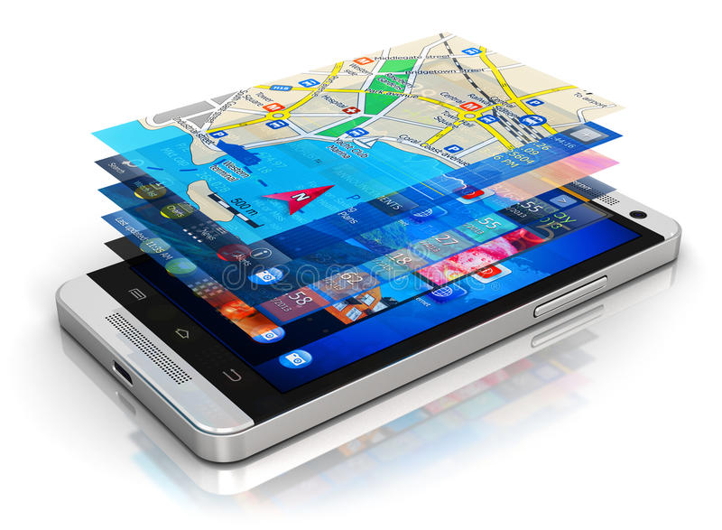 Mobilt applikationbegrepp stock illustrationer