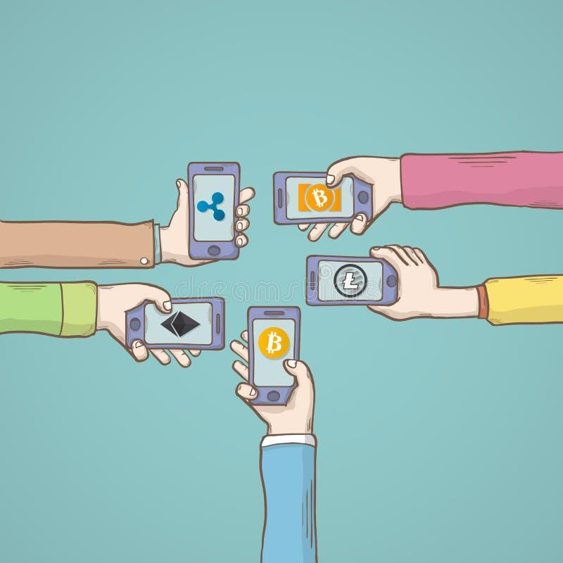 Mobilt appscryptocurrencybegrepp Plan modern design royaltyfri illustrationer