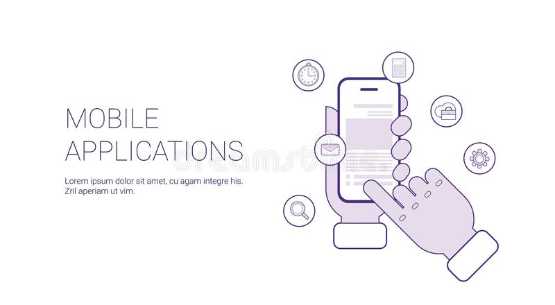 Mobilt baner för rengöringsduk för applikationaffärsidémall med kopieringsutrymme royaltyfri illustrationer