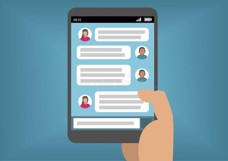 Mobilt begrepp för ögonblicklig messaging med telefonen eller minnestavlan för handinnehav den smarta som illustration stock illustrationer