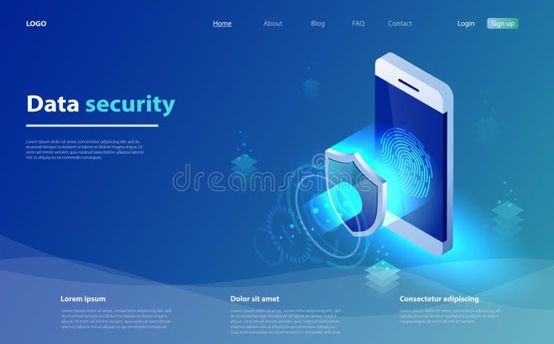 Mobilt begrepp för datasäkerhet Smartphone med säkerhetsskölden och tillträdesfönstret Aff?r f?r internets?kerhetssk?ld stock illustrationer