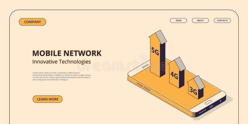 Mobilt begrepp för nätverksteknologier i isometrisk vektorillustration royaltyfri illustrationer