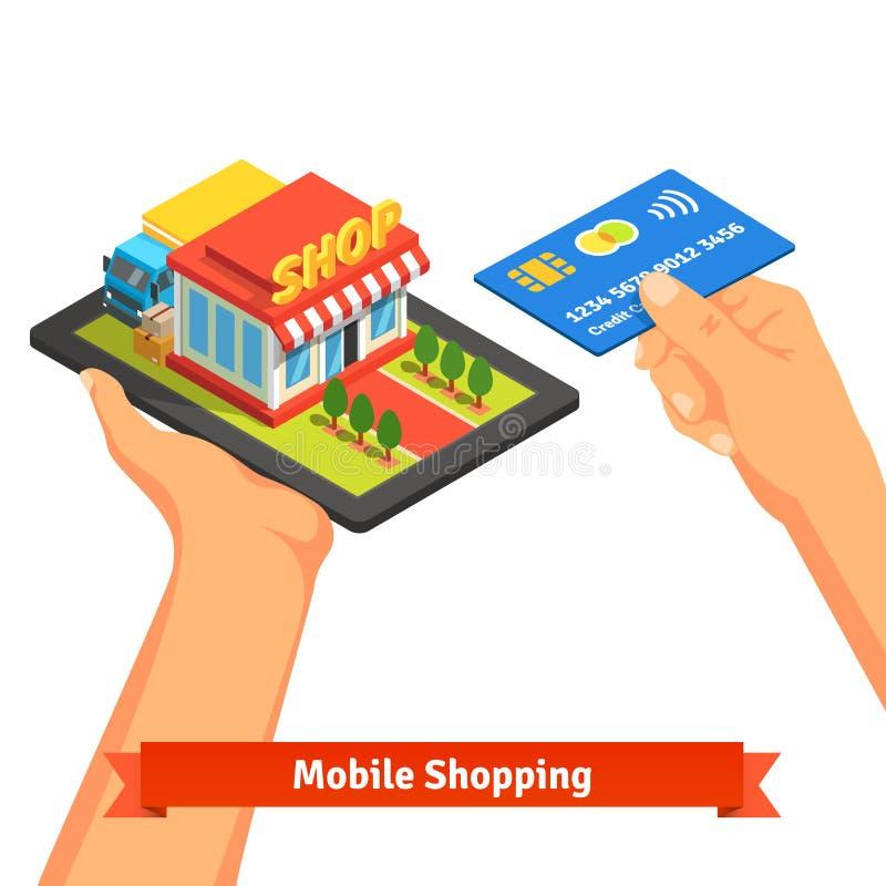 Mobilt begrepp för supermarketinternetkommers stock illustrationer