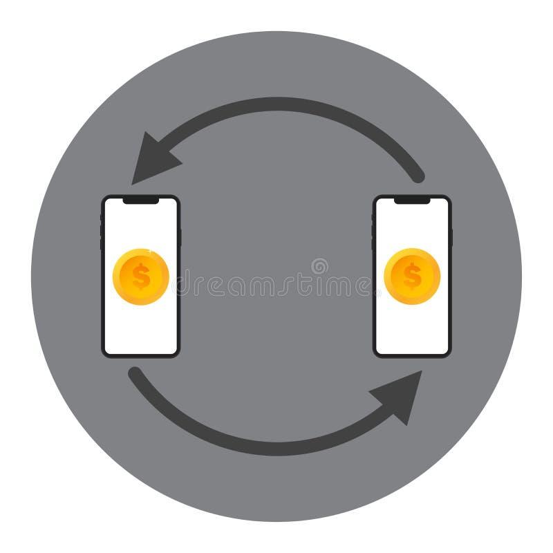 Mobilt begrepp f?r vektor f?r pengar?verf?ring Utbytespengarna f?r tv? apparater med de Begrepp av pengar?verf?ringen och valuta vektor illustrationer