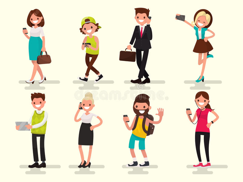 Mobilt beroende Folk med deras grejer Vektor Illustratio vektor illustrationer