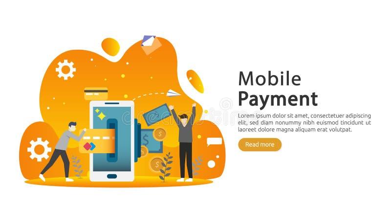 mobilt betalning- eller pengar?verf?ringsbegrepp E-kommers marknad som shoppar online-illustrationen med det mycket lilla folktec stock illustrationer