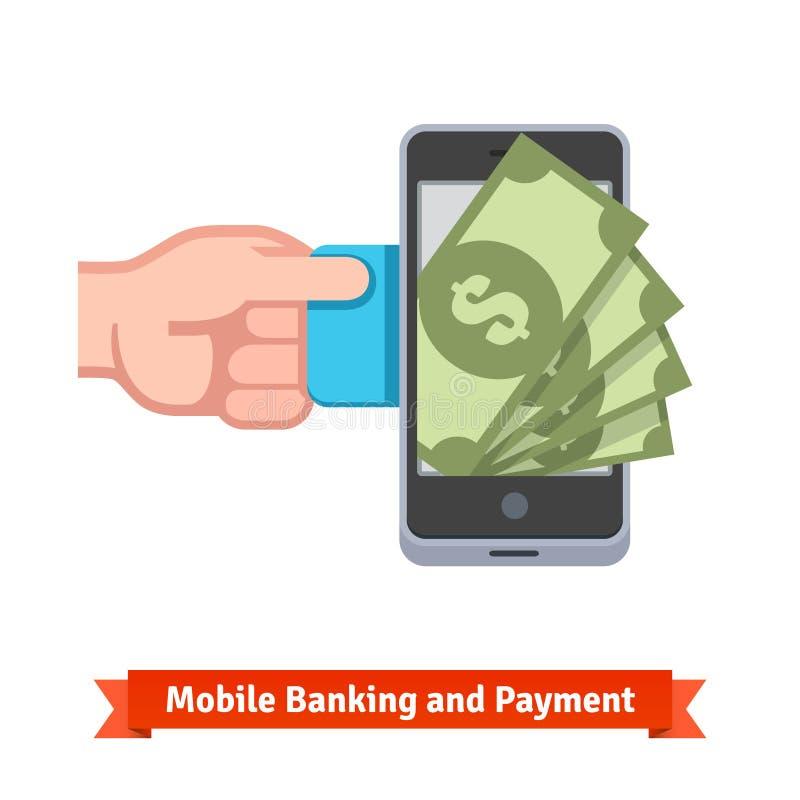 Mobilt betalningbegrepp royaltyfri illustrationer