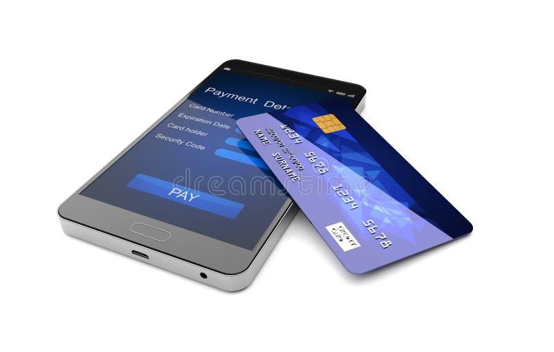 Mobilt betalningbegrepp, Smartphone med kreditkorten illustration 3d stock illustrationer