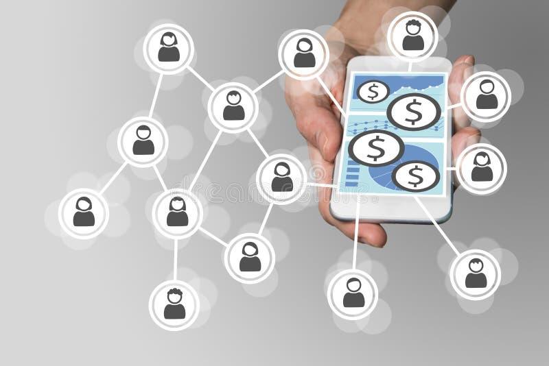 Mobilt e-betalning begrepp med smartphonen och det sociala nätverket stock illustrationer