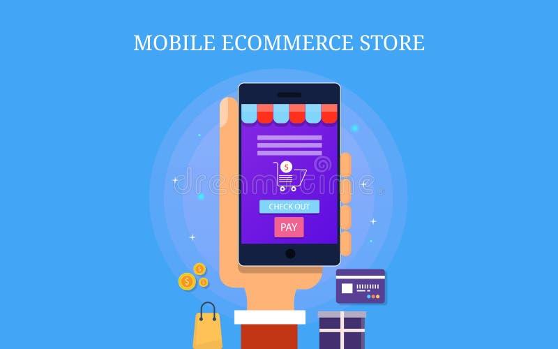 Mobilt ecommercelager, mobil app för ecommercewebsiten, digitalt marknadsföra begrepp Plant designvektorbaner stock illustrationer