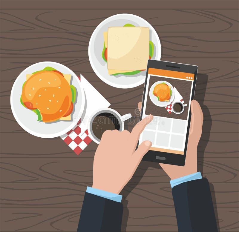 Mobilt fotografibegrepp Man att ta foto av hamburgaren och koppen kaffe på smartphonen vektor illustrationer