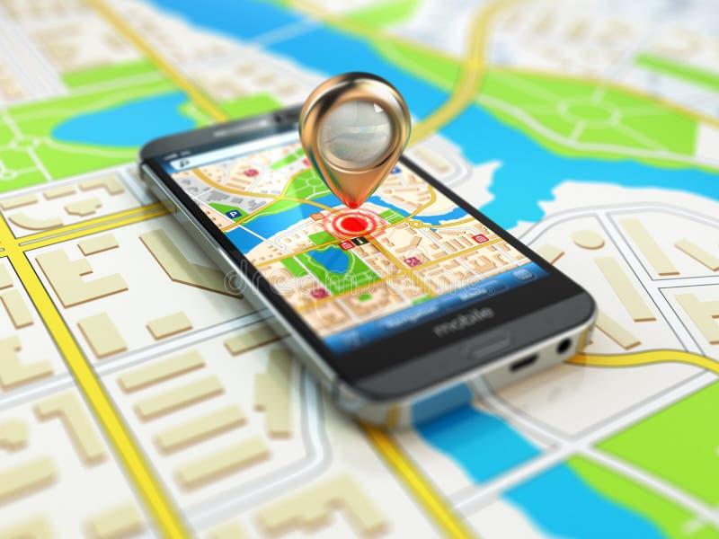 Mobilt GPS navigeringbegrepp Smartphone på översikten av staden, stock illustrationer