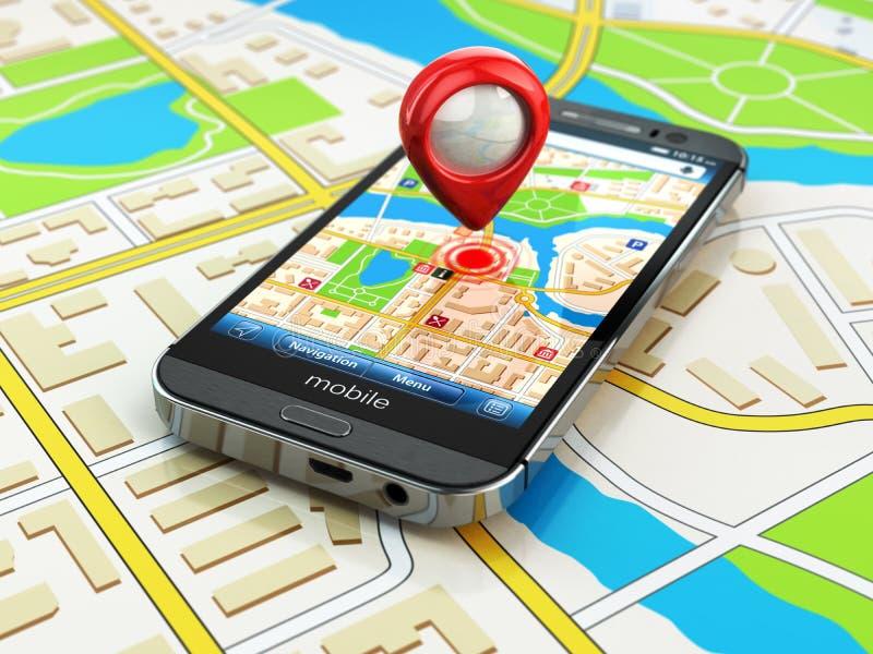 Mobilt GPS navigeringbegrepp Smartphone på översikten av staden, royaltyfri illustrationer