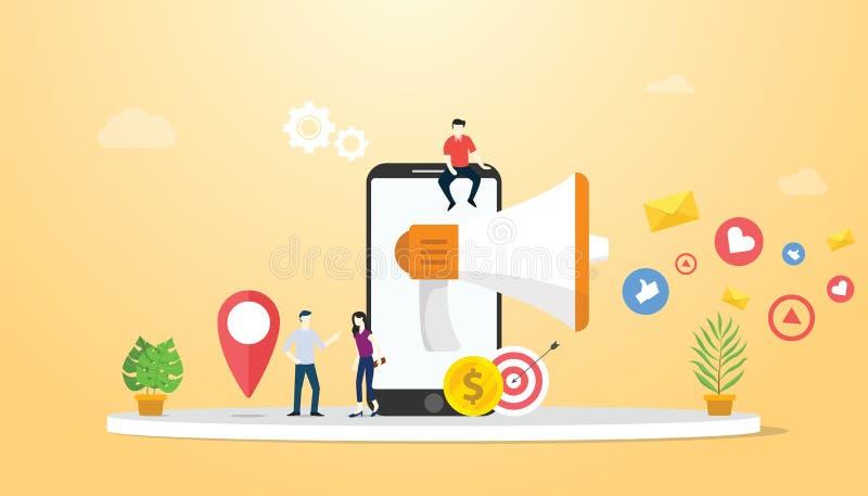 Mobilt marknadsföra begrepp med smartphonen och den sociala massmediasymbolsaffären - vektor royaltyfri illustrationer