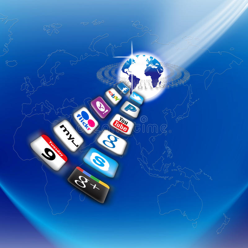 mobilt nätverk s för apps i dag vad som är din stock illustrationer