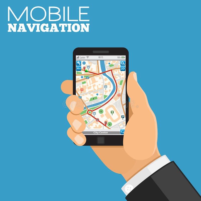 Mobilt navigeringbegrepp stock illustrationer