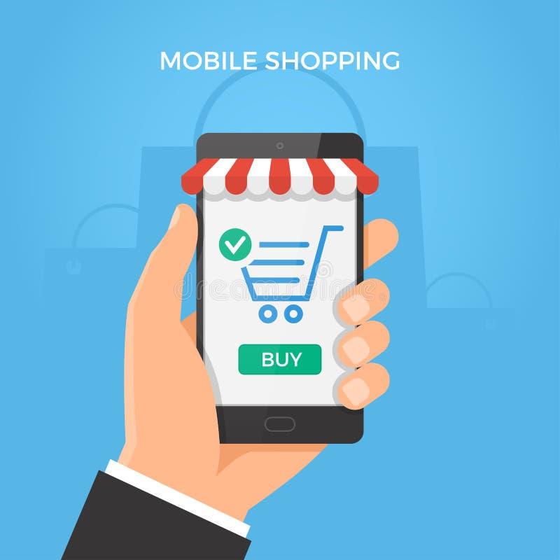 Mobilt online-shoppingbegrepp vektor illustrationer