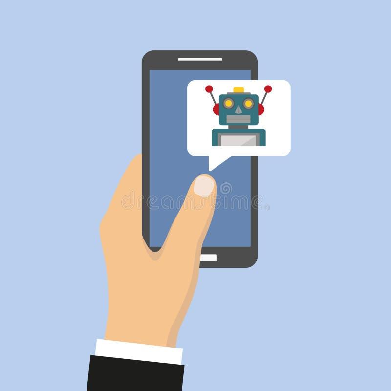 Mobilt pratstundbotbegrepp Gullig tecknad filmrobot på den smarta skärmen för telefon` s vektor illustrationer